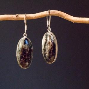 Boucle d'oreille en argent 925, Pierre Meline Taille 3 cm