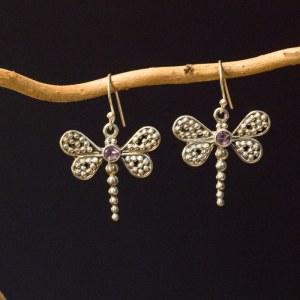 Boucle d'oreille en argent 925 en forme de papillon Pierre Amethyste