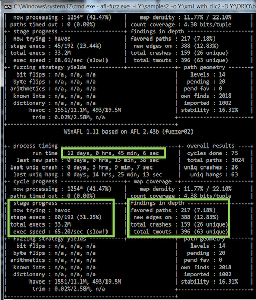 Fuzzing results after 12 days.
