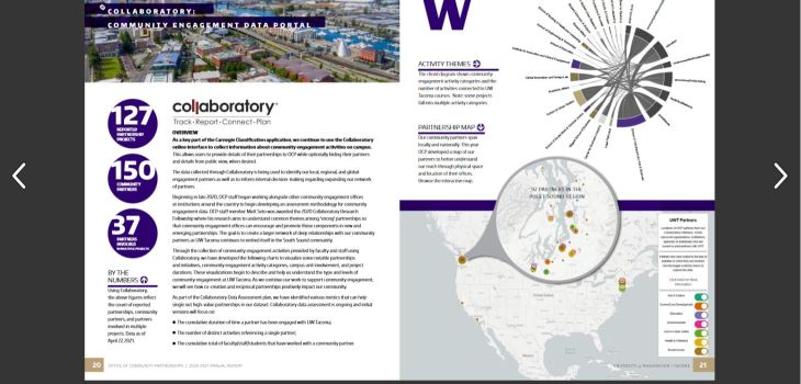Page 20-21 spread on the UW Tacoma Office of Community Partnerships 2020-2021 annual report