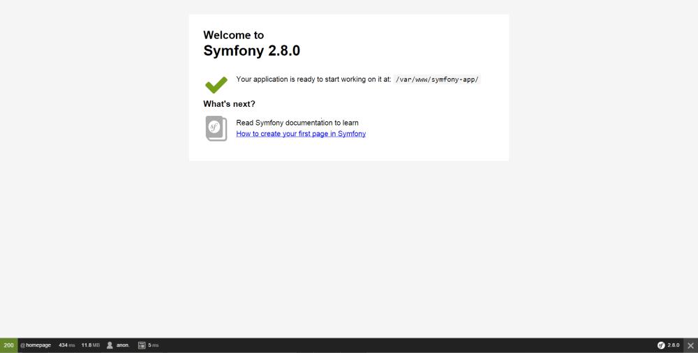 medium resolution of symfony welcome page