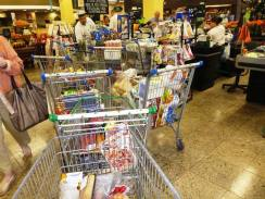 Part of our 5-trolley supermarket shop that took four hours