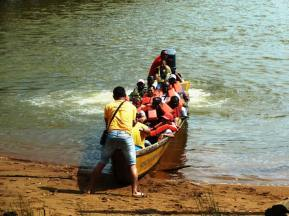 ... and those with urgent business are ferried back across the river