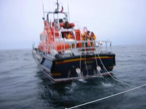 The Shetland lifeboat comes to tow us in to Lerwick after terminal engine failure