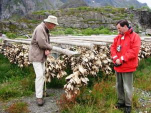 Christopher & David inspect the dried cod heads destined for Nigeria
