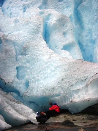 Nigel investigates the underside of the glacier