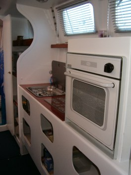 Full galley including gas oven and double stove, hot water pressure and convenient preparation areas