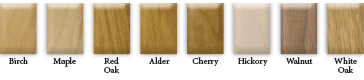 Available wood species for the Symmetry standard wood handrail