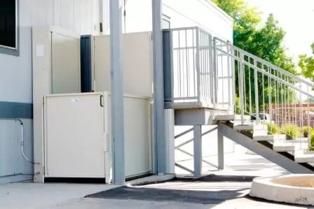 Symmetry Wheelchair Lift VPL-UL Pitted Commercial Application