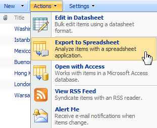 Export to Spreadsheet