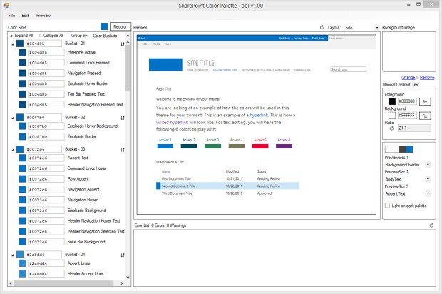 The color palette tool provides color palette functionality for use with SharePoint designs.