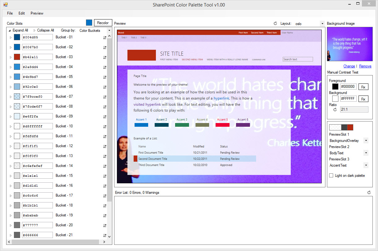 sharepoint color palette tool marc d s