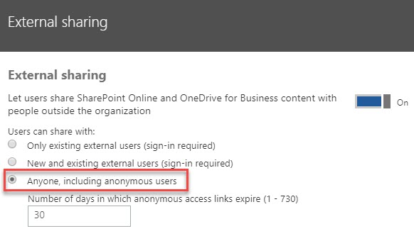 """Enabling the """"Anyone"""" Sharing Setting in and Office 365 Site 