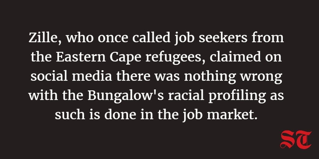 Bungalow, racial classification, Zille and Twitter outrage (again)