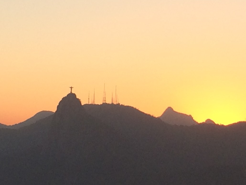 Sunset with Christ the Redeemer in the background