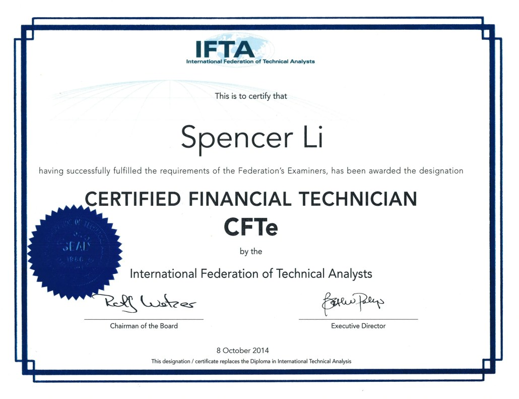 I Am Now Officially A Certified Financial Technican Cfte By The