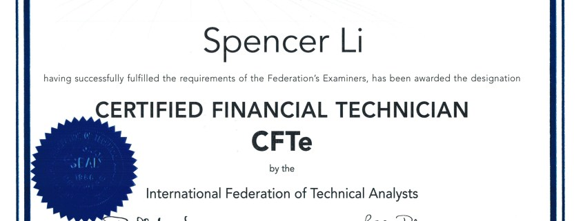 I Am Now Officially a Certified Financial Technican (CFTe