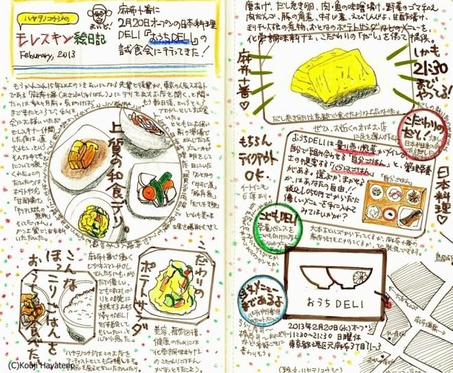 モレスキン絵日記 麻布十番の日本料理デリ