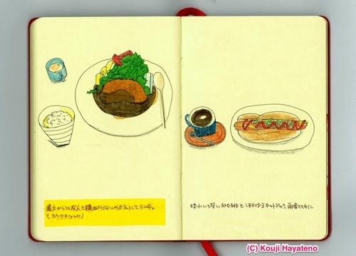 食べ物モレスキン更新! ポークカツレツとホットドッグ