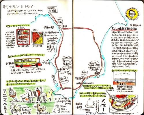 モレスキン絵日記(モヤモレ的電車の旅)春まっさかり房総の旅-ルートマップ編