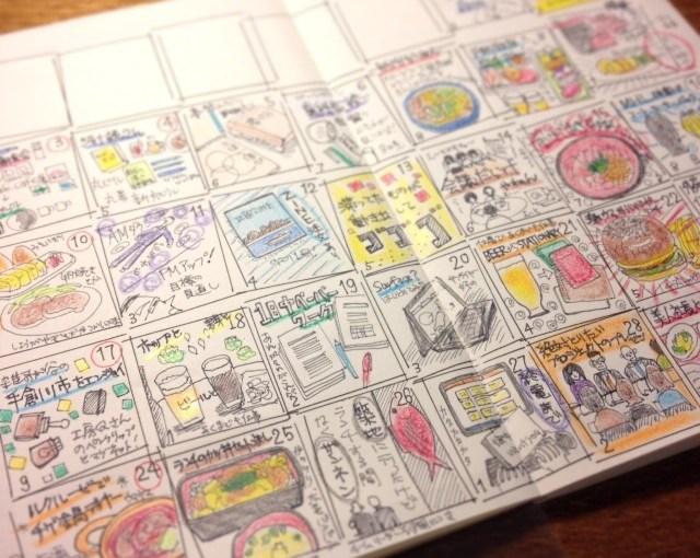 自作の手帳(モレスキン・ヴォラン)のマンスリー絵日記、11月版。