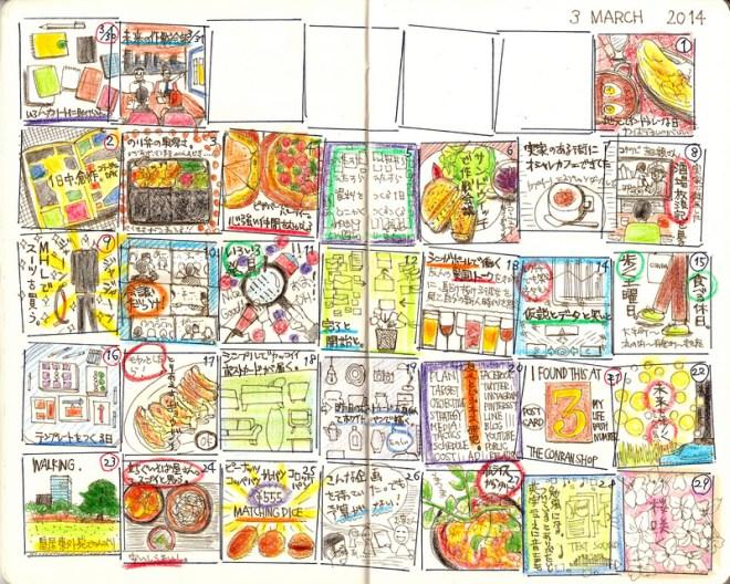 マンスリー絵日記(2014年3月号)ノート:モレスキン(ヴォラン)