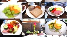 デンマーク旅行での朝食。テーブルの上に、いつも素敵な薔薇があって好きだった。