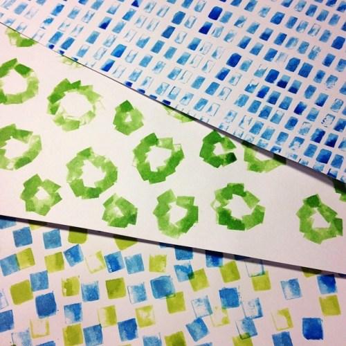 けしごむはんこパターン。3種類の自作はんこをパターンにすると柄になっちゃいます。