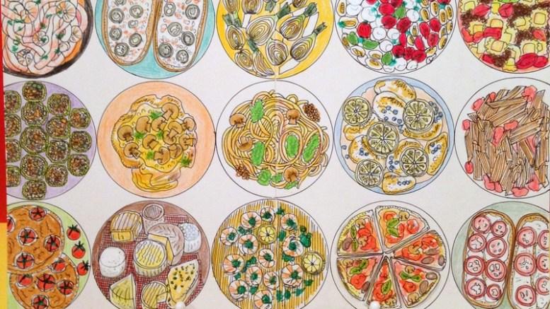 イタリア料理をイメージしたフードイラスト。モレスキンのラージサイズに整列パターンで展開。
