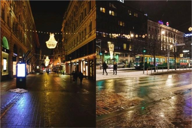 夜のヘルシンキの街並