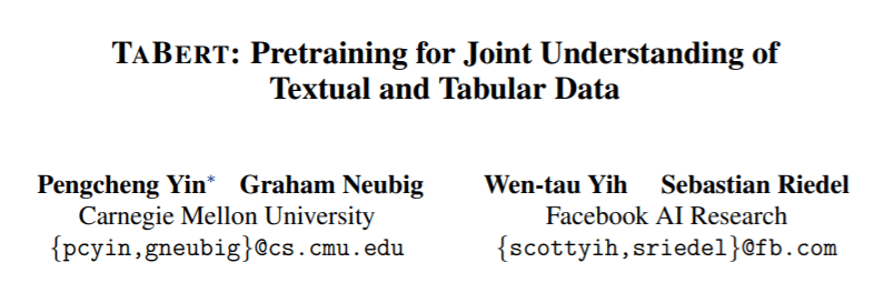 Facebook & CMU Introduce TaBERT for Understanding Tabular Data Queries