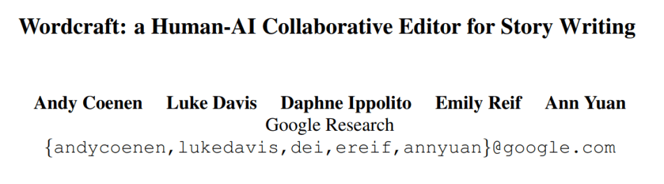 Google's Wordcraft Text Editor Advances Human-AI Collaborative Story Writing