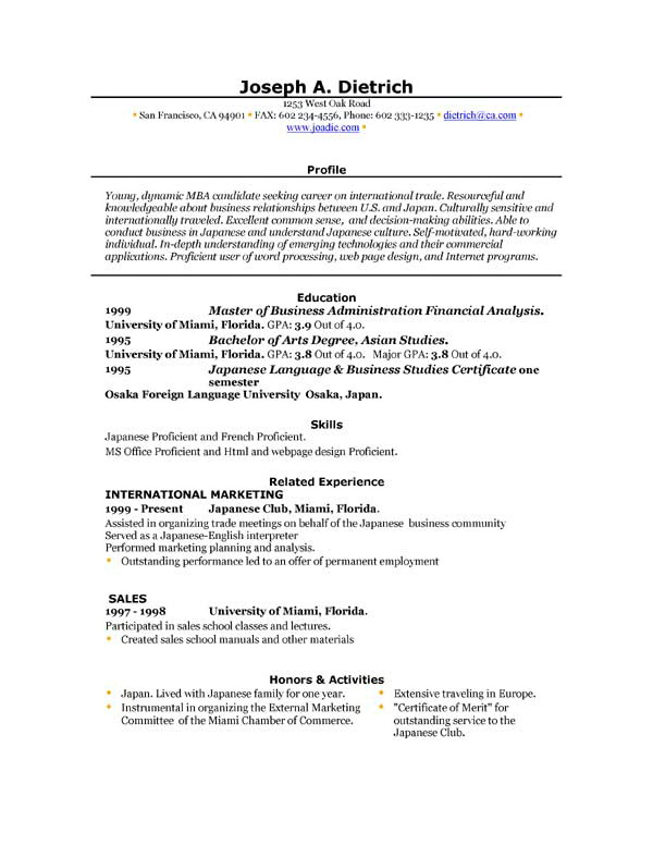 Free Online Resume Template Microsoft Word