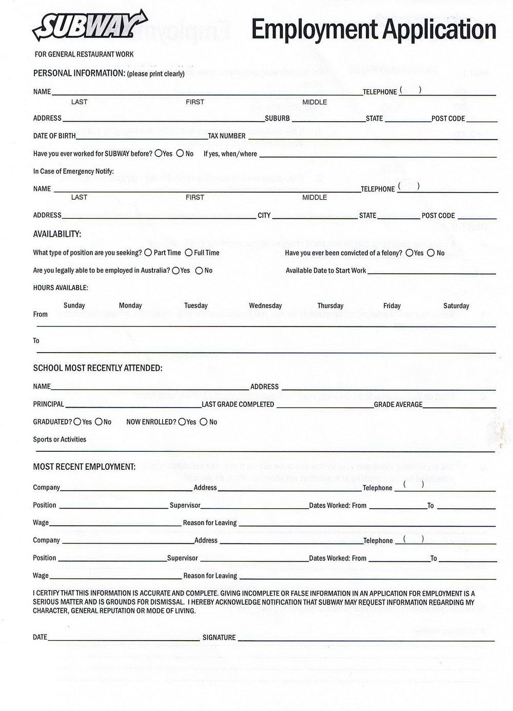 Free Printable Job Application Template