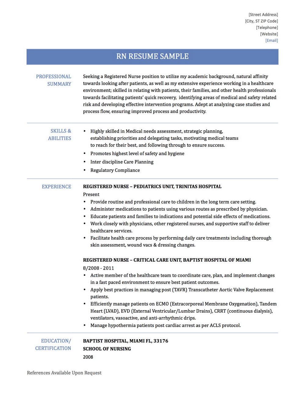 Resume For Registered Nurse