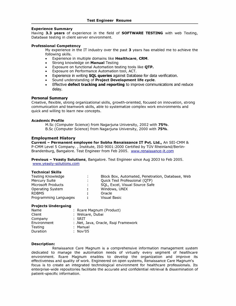 Sample Resume For Software Tester Fresher
