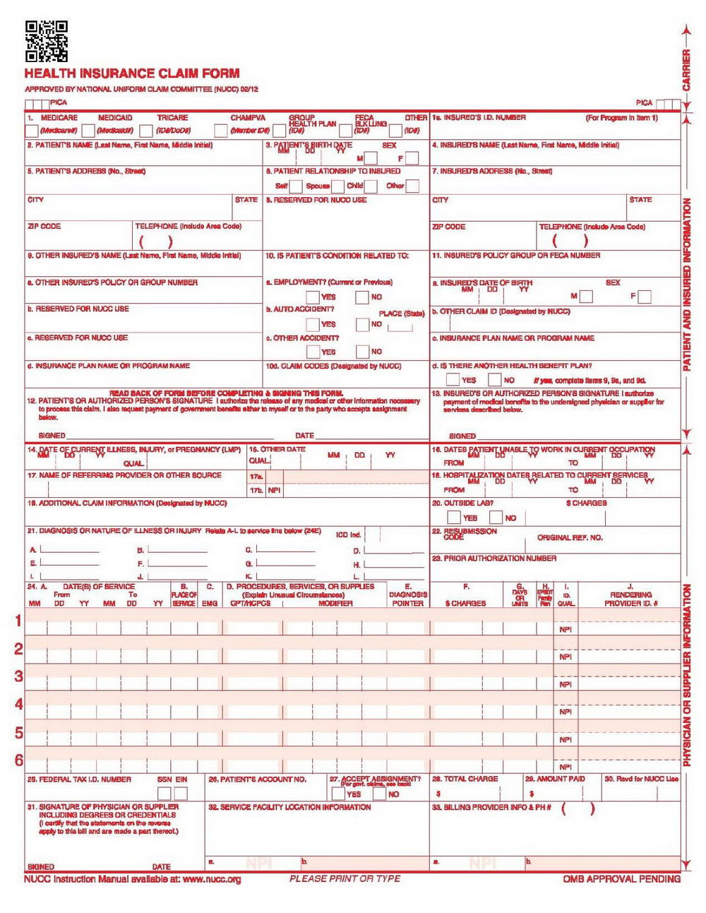 Cms 1500 Form Pdf Free Download