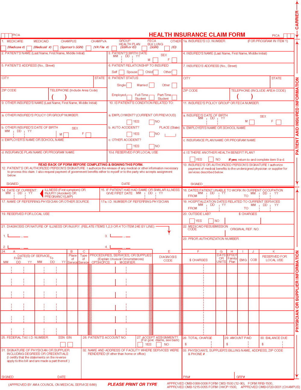 Hcfa 1500 Claim Form Instructions