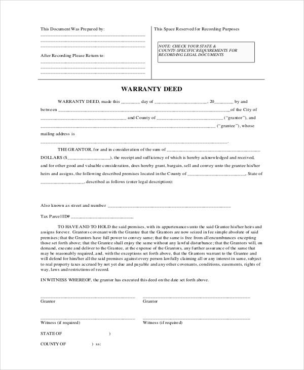 Special Warranty Deed Form