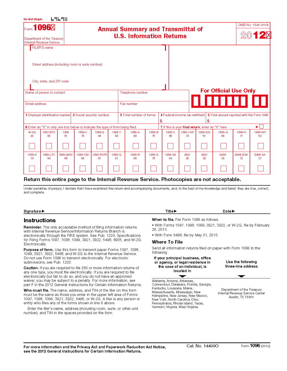 1096 Tax Form Instructions