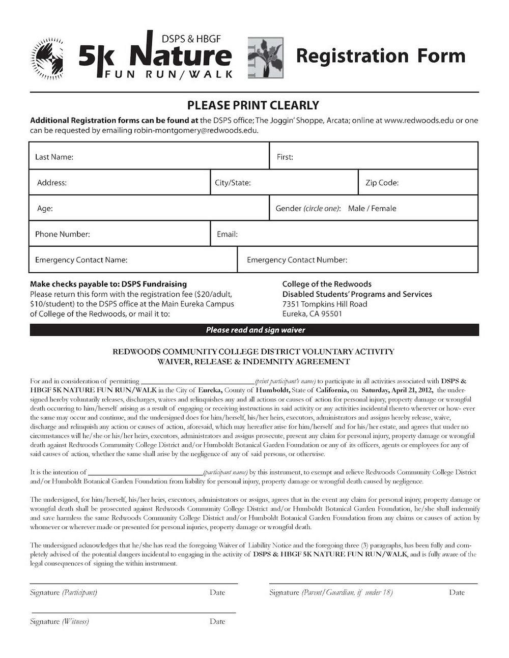 5k Race Registration Form Template