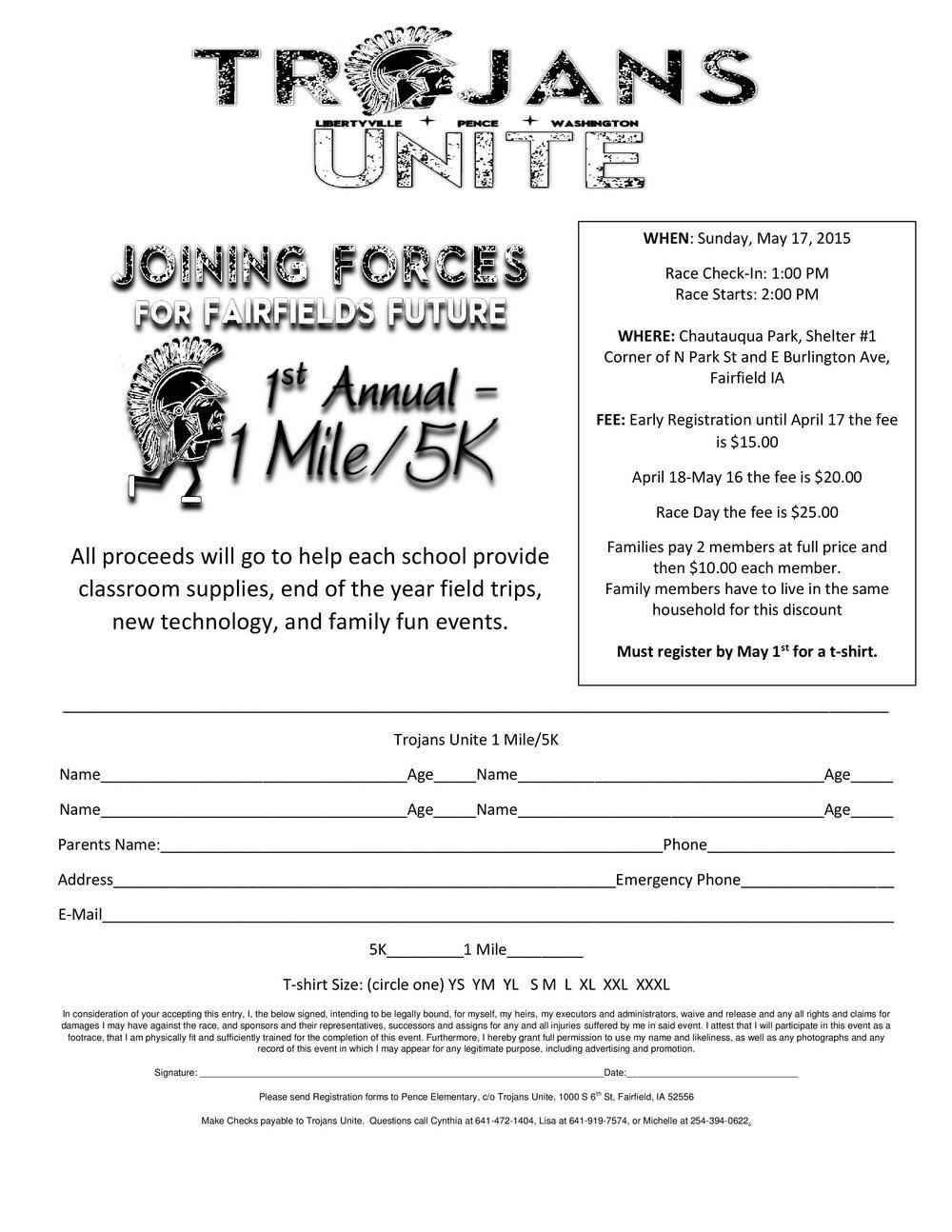 5k Race Registration Form