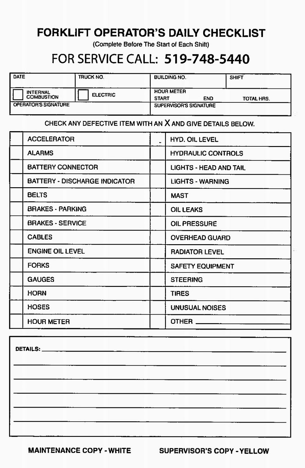 Forklift Inspection Form Template