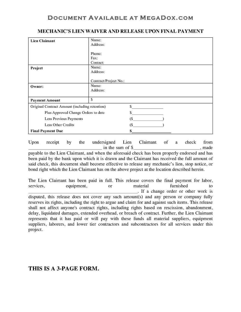 Mechanic Lien Form California