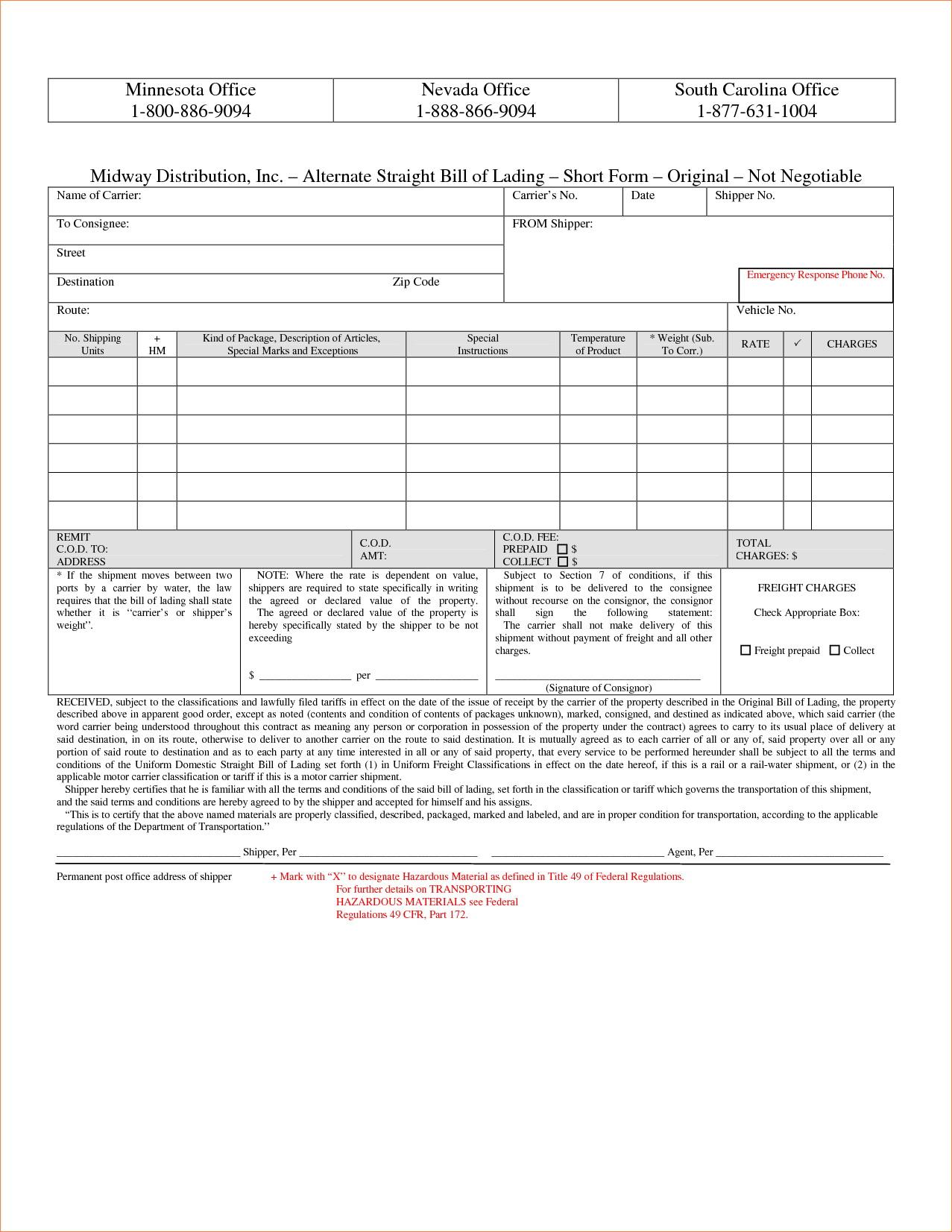 Bill Of Lading Short Form