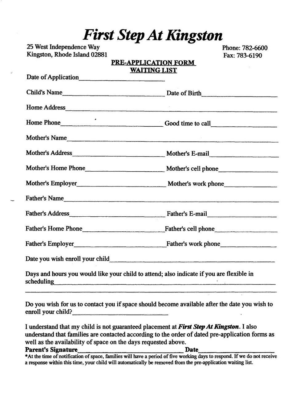Daycare Enrollment Form