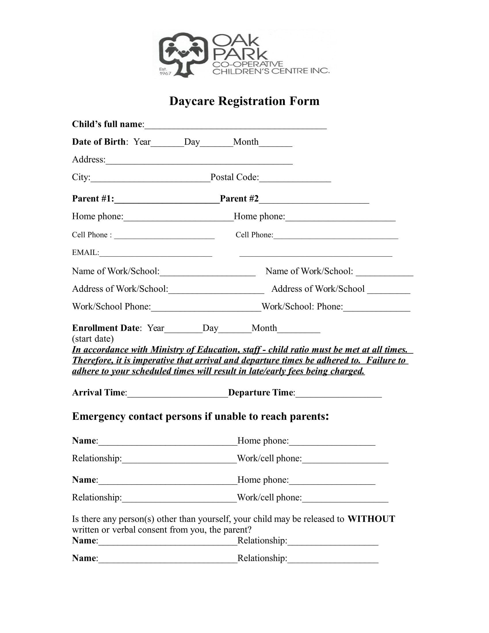 Daycare Registration Forms Free