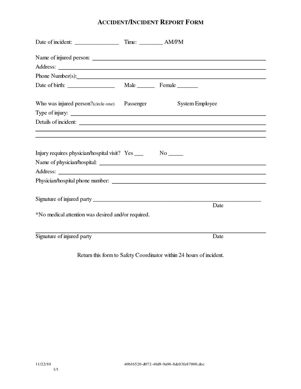 Auto Accident Liability Release Form