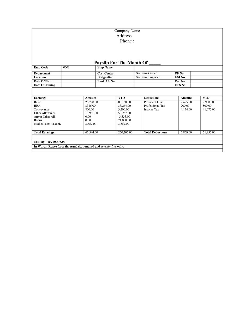 Pay Stub Template Free Word