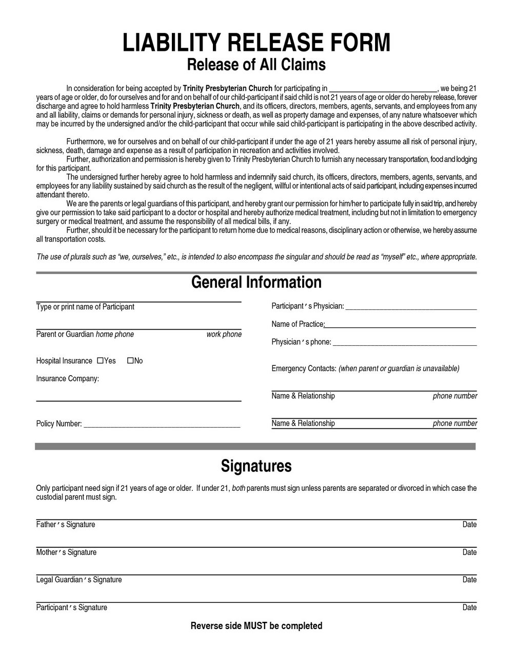 General Liability Release Form Template